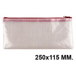 Bolsa multiusos q-connect en pvc apertura superior con cremallera en rojo en formato 250x115 mm., color transparente.