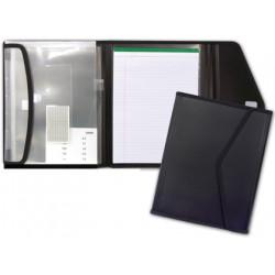 Carpeta portafolios en polipropileno liderpapel en formato din a-4, bloc de notas, cierre con velcro, color negro.