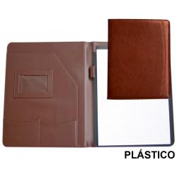 Carpeta portafolios en plástico csp en formato din a-4, bloc de notas, color marrón.
