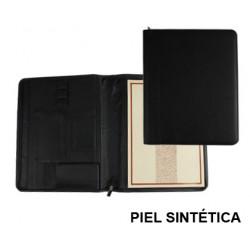 Carpeta portafolios en piel sintética csp en formato din a-4, bloc de notas, cierre con cremallera, color negro.