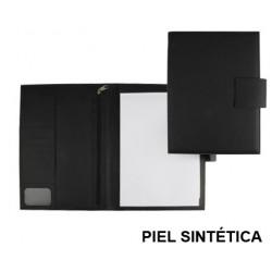 Carpeta portafolios en piel sintética csp en formato din a-4, bloc de notas, cierre con imán, color negro.