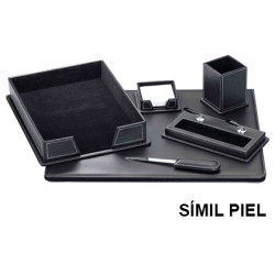 Juego de escribanía y accesorios para sobremesa csp en símil piel, color negro.