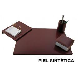 Juego de escribanía y accesorios para sobremesa csp en piel sintética, color marrón.
