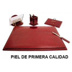 Juego de escribanía y accesorios para sobremesa csp en piel de primera calidad, color marrón.