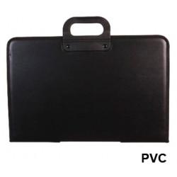 Cartera portadocumentos con asa q-connect en pvc, cierre con cremallera, color negro.
