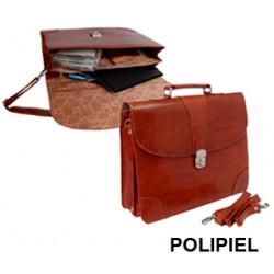 Cartera portadocumentos con asa y cinta bandolera q-connect en polipiel, cierre metálico con llave, color marrón.