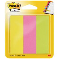 Bloc de mini notas adhesivas 3m post-it neón 671-3 de 25x76 mm., pack de 3 colores surtidos.
