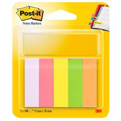 Bloc de mini notas adhesivas 3m post-it neón 671-5 de 15x50 mm., pack de 5 colores surtidos.