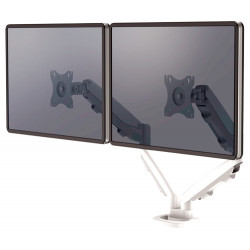 Brazo para monitor doble en horizontal fellowes eppa™, color blanco.