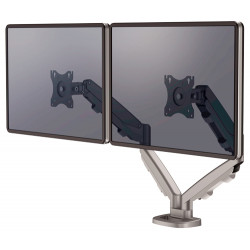 Brazo para monitor doble en horizontal fellowes eppa™, color plata.