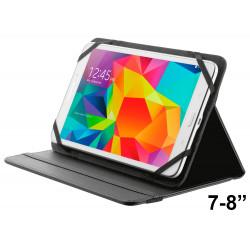 """Funda con soporte y cierre elástico para tablet trust de 7-8"""", color negro."""