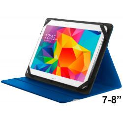 """Funda con soporte y cierre elástico para tablet trust de 7-8"""", color azul."""