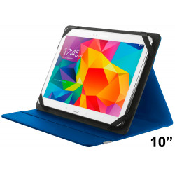 """Funda con soporte y cierre elástico para tablet trust de 10"""", color azul."""