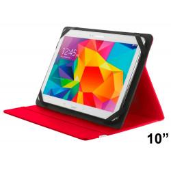 """Funda con soporte y cierre elástico para tablet trust de 10"""", color rojo."""