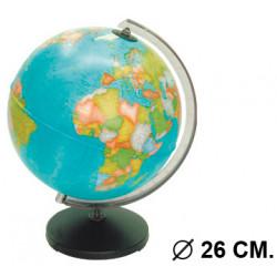 Esfera terrestre con cartografía política, sin luz replogle corallo diámetro de 26 cm. con base y meridiano.