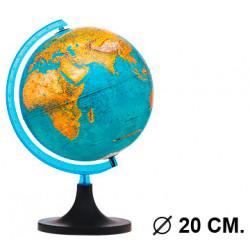 Esfera terrestre con cartografía física y política, con luz replogle elite diámetro de 20 cm. con base y meridiano.