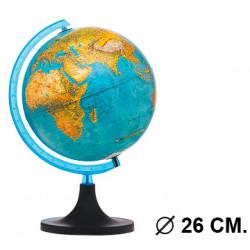 Esfera terrestre con cartografía física y política, con luz replogle elite diámetro de 26 cm. con base y meridiano.