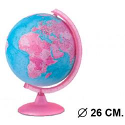 Esfera terrestre con cartografía física y política, con luz replogle pink diámetro de 26 cm. con base y meridiano rosa.