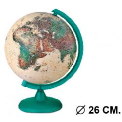 Esfera terrestre con cartografía física y política, con luz replogle camaleonte diámetro de 26 cm. con base y meridiano verde.