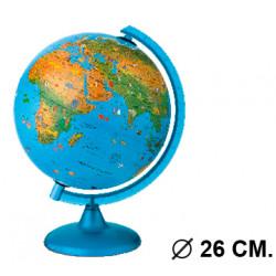 Esfera terrestre con cartografía física y política, con luz replogle arca, Ø 26 cm. con base y meridiano azul.