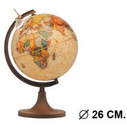 Esfera terrestre con cartografía física y política, con luz replogle marco polo diámetro de 26 cm. con base y meridiano oro.
