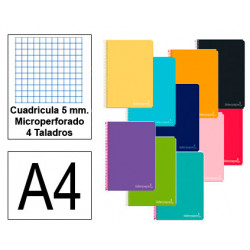Cuaderno espiral tapa dura liderpapel serie witty en formato din a-4, 140 hj. 75 grs/m². 5x5 c/m. microperforado, 4 taladros.