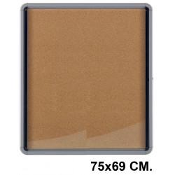 Vitrina de anuncios con fondo de corcho natural y marco de aluminio nobo premium plus 75x69 cm.