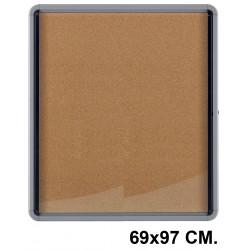 Vitrina de anuncios con fondo de corcho natural y marco de aluminio nobo premium plus 69x97 cm.