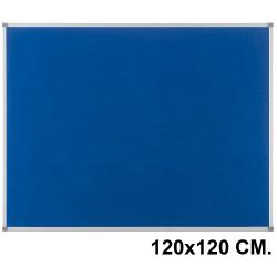 Tablero de fieltro con marco de aluminio nobo essence 120x120 cm. azul