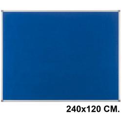 Tablero de fieltro con marco de aluminio nobo essence 240x120 cm. azul