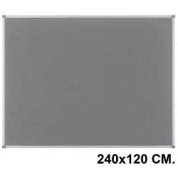 Tablero de fieltro con marco de aluminio nobo essence 240x120 cm. gris