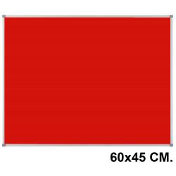 Tablero de fieltro con marco de aluminio nobo essence 60x45 cm. rojo