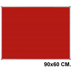 Tablero de fieltro con marco de aluminio nobo classic en formato 90x60 cm. color rojo.