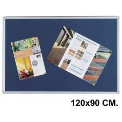 Tablero de fieltro con marco de aluminio q-connect en formato 120x90 cm. color azul.
