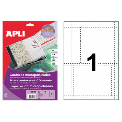 Carátulas microperforadas en cartulina de 200 grs/m². para cd/dvd apli, blíster de 10 hojas din a4