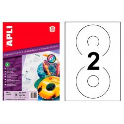Etiqueta para cd/dvd de calidad fotográfica apli de Ø 114 mm. blíster de 10 hojas din a4