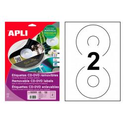 Etiqueta removible para cd/dvd acabado mate apli de Ø 114 mm. blíster de 25 hojas din a4