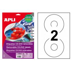 Etiqueta removible para cd/dvd acabado mate apli de Ø 117 mm. blíster de 25 hojas din a4