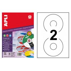 Etiqueta para cd/dvd con dorso opaco apli de Ø 114 mm. blíster de 25 hojas din a4