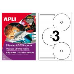 Etiqueta para cd/dvd con dorso opaco apli de Ø 114 mm. caja de 100 hojas din a4