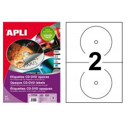 Etiqueta para cd/dvd con dorso opaco apli de Ø 117 mm. caja de 100 hojas din a4