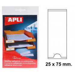 Bolsillo adhesivo portaetiqueta apli de 25x75 mm. blíster de 12 uds.