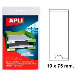 Bolsillo adhesivo portaetiqueta apli de 19x75 mm. blíster de 16 uds.
