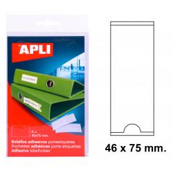 Bolsillo adhesivo portaetiqueta apli de 46x75 mm. blíster de 6 uds.