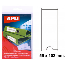 Bolsillo adhesivo portaetiqueta apli de 55x102 mm. blíster de 6 uds.
