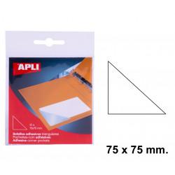 Bolsillo adhesivo triangular apli de 75x75 mm. blíster de 12 uds.