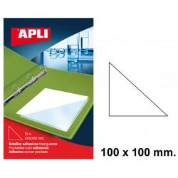 Bolsillo adhesivo triangular apli de 100x100 mm. blíster de 10 uds.