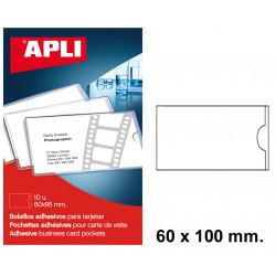 Bolsillo adhesivo para tarjetas con solapa apli de 60x100 mm. blíster de 10 uds.