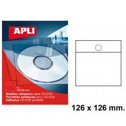 Bolsillo adhesivo para cd/dvd con solapa apli de 126x126 mm. blíster de 6 uds.