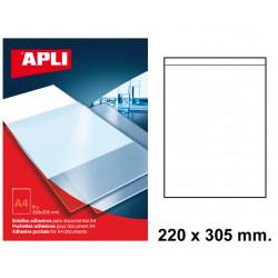 Bolsillo adhesivo para documentos apli de 220x305 mm. blíster de 6 uds.